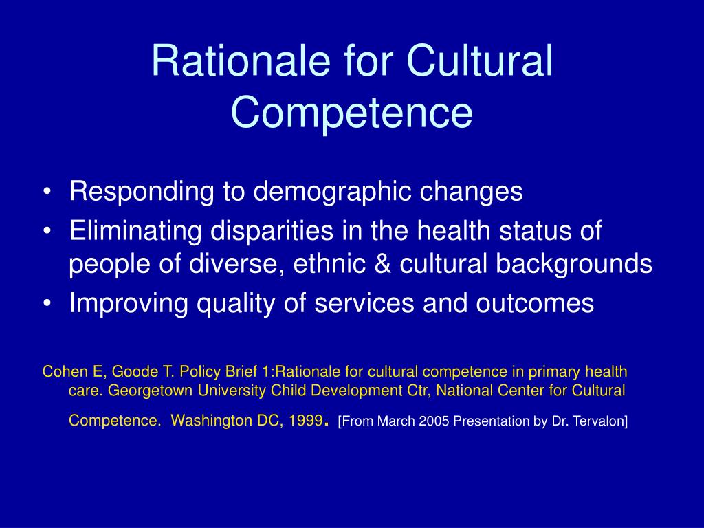 Rationale for Cultural Competence