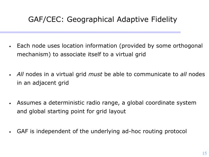 GAF/CEC: Geographical Adaptive Fidelity
