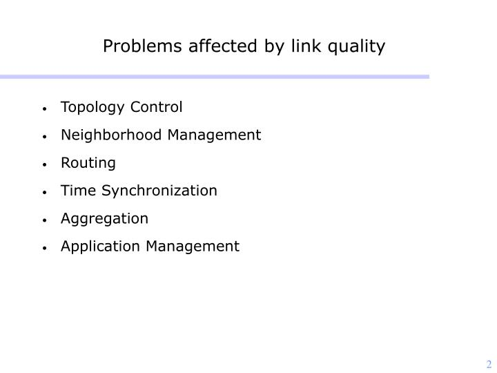 Problems affected by link quality