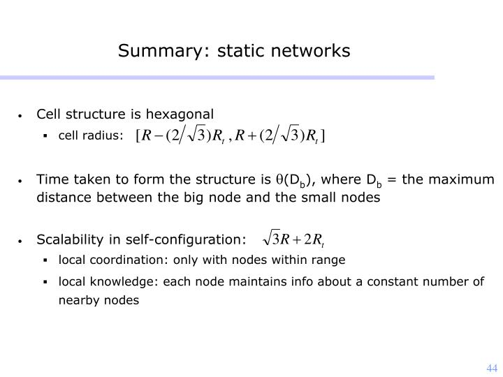 Summary: static networks