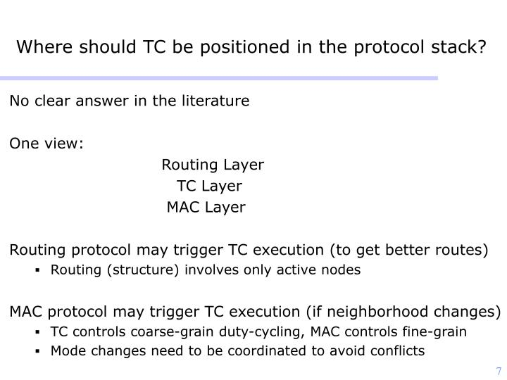 Where should TC be positioned in the protocol stack?