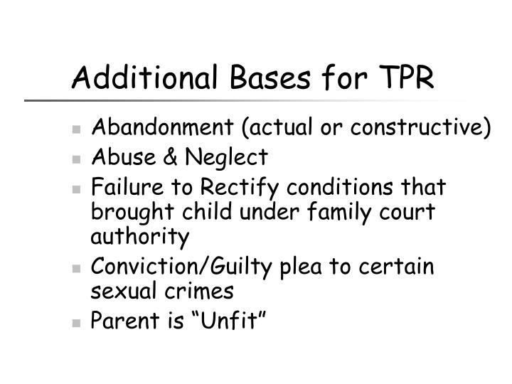 Additional Bases for TPR