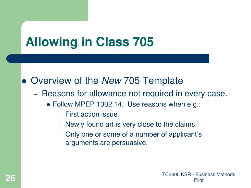 Allowing in Class 705