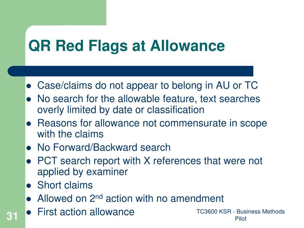 QR Red Flags at Allowance
