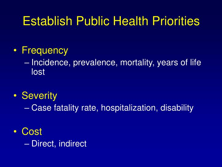 Establish Public Health Priorities