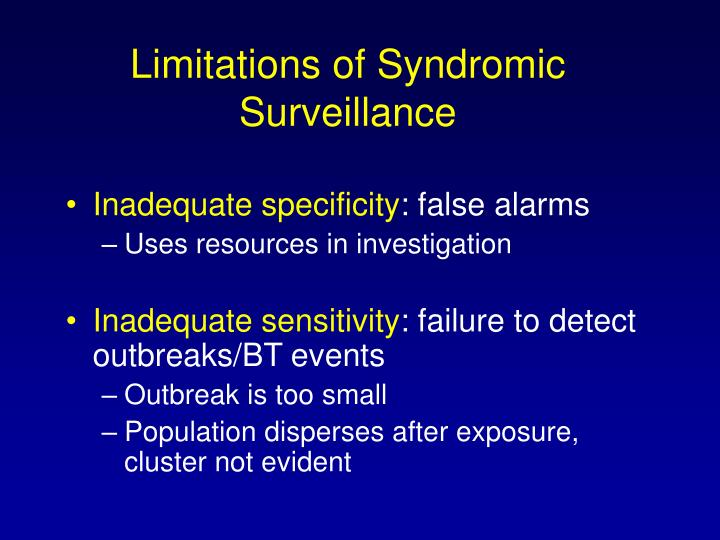 Limitations of Syndromic Surveillance
