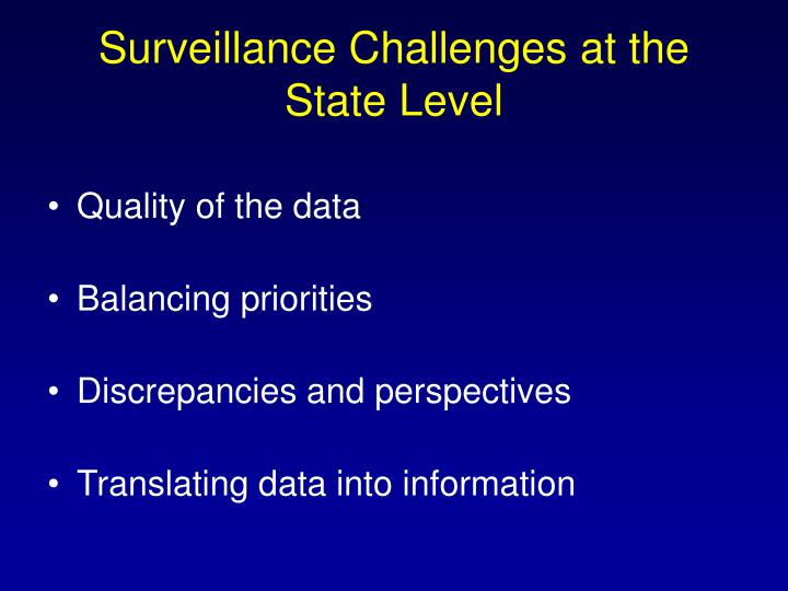Surveillance Challenges at the State Level