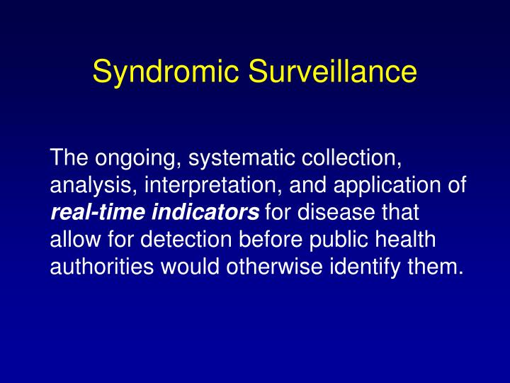Syndromic Surveillance