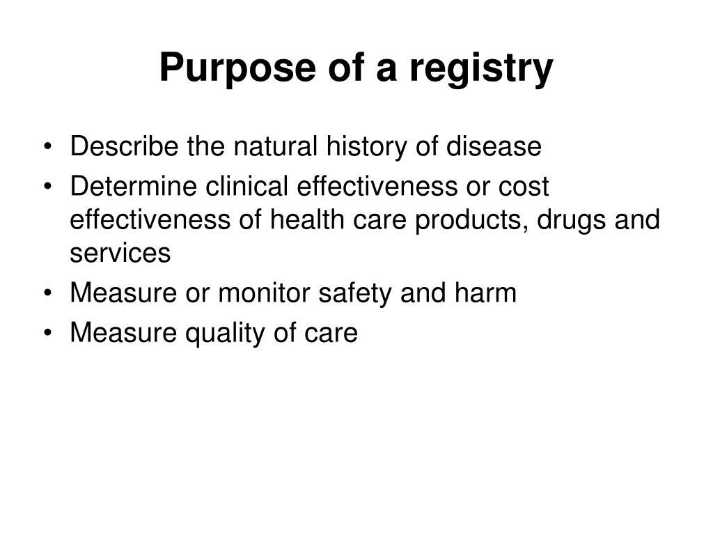Purpose of a registry