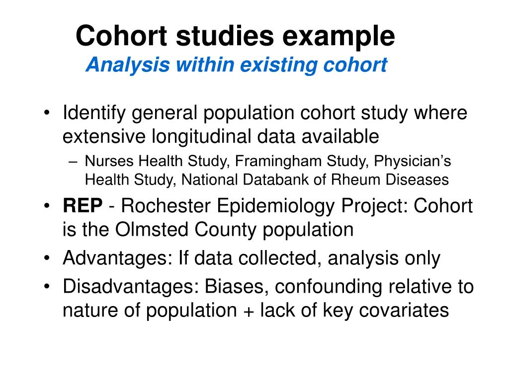 Cohort studies example