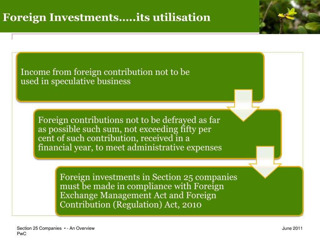 Foreign Investments…..its utilisation