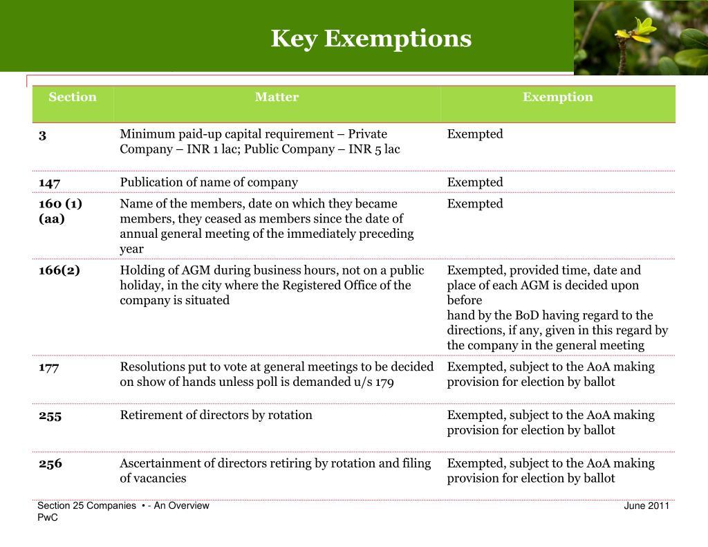 Key Exemptions