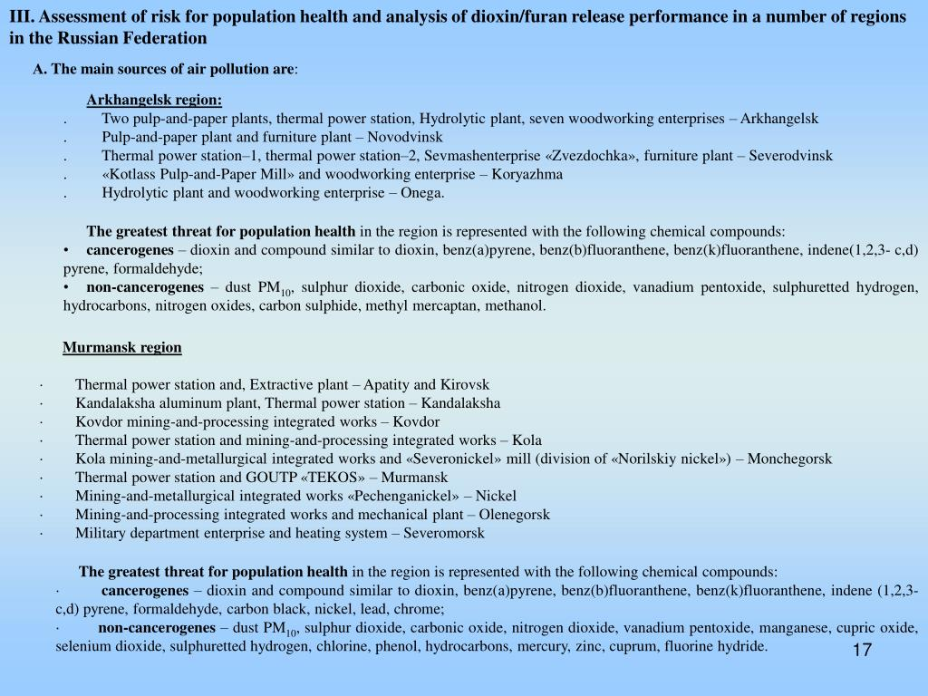 III. Assessment of risk for population health and analysis of dioxin/furan release performance in a number of regions in the Russian Federation