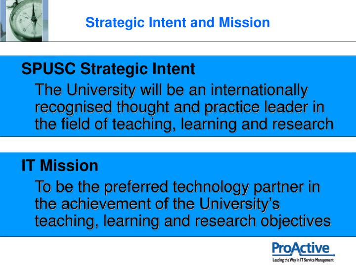 SPUSC Strategic Intent