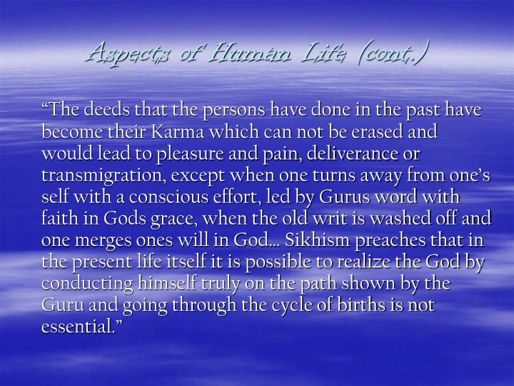 Aspects of Human Life (cont.)