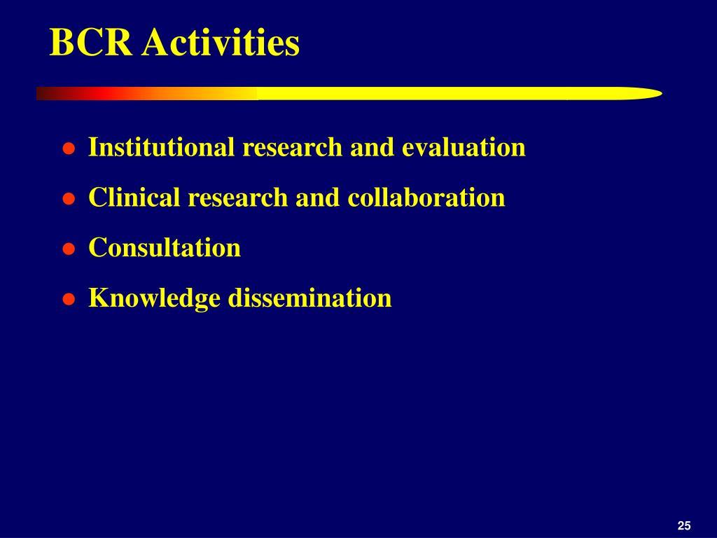 BCR Activities