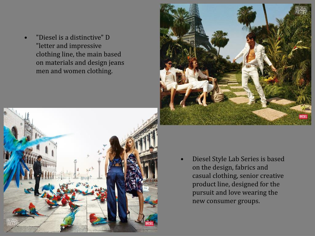 """""""Diesel is a distinctive"""" D """"letter and impressive clothing line, the main based on materials and design jeans men and women clothing."""