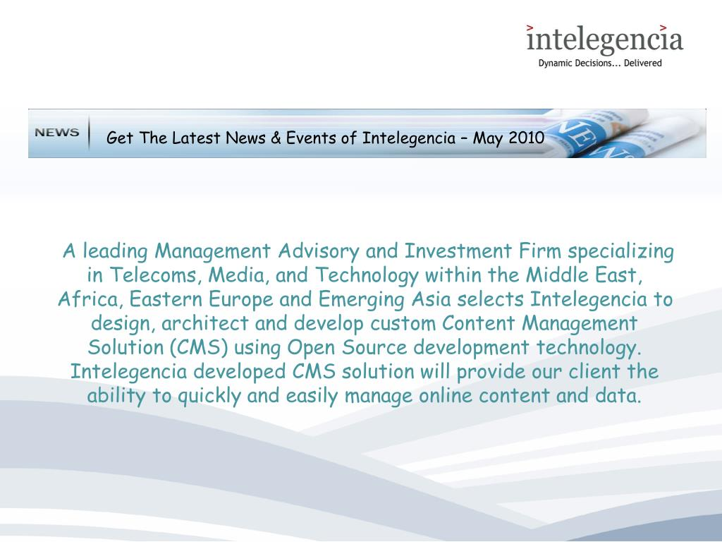 Get The Latest News & Events of Intelegencia – May 2010