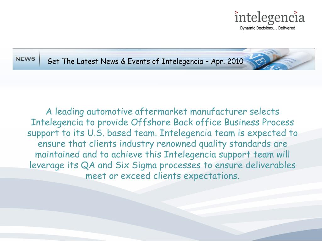 Get The Latest News & Events of Intelegencia – Apr. 2010