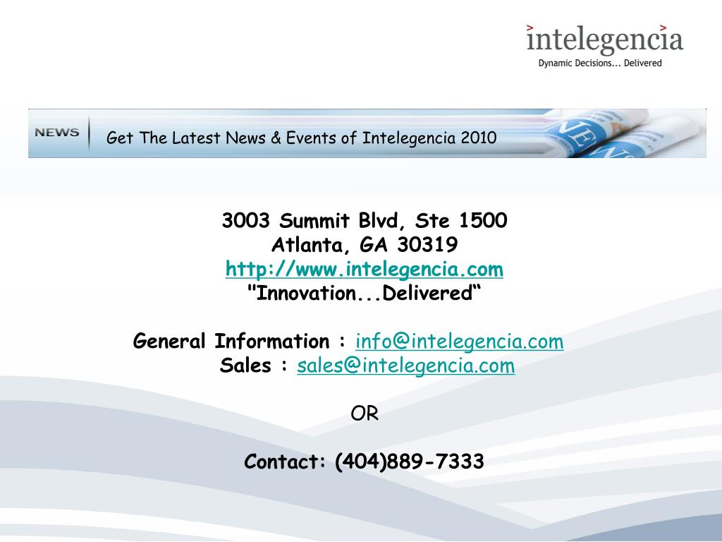 Get The Latest News & Events of Intelegencia 2010