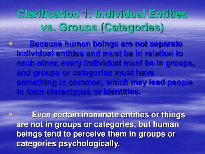 Clarification 1: Individual Entities vs. Groups (Categories)