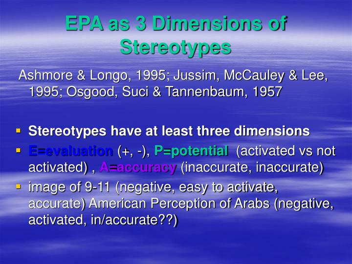 EPA as 3 Dimensions of Stereotypes