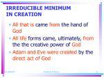 irreducible minimum in creation