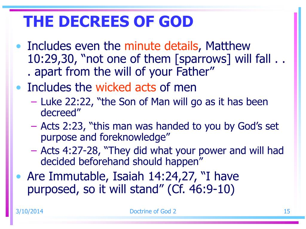 THE DECREES OF GOD