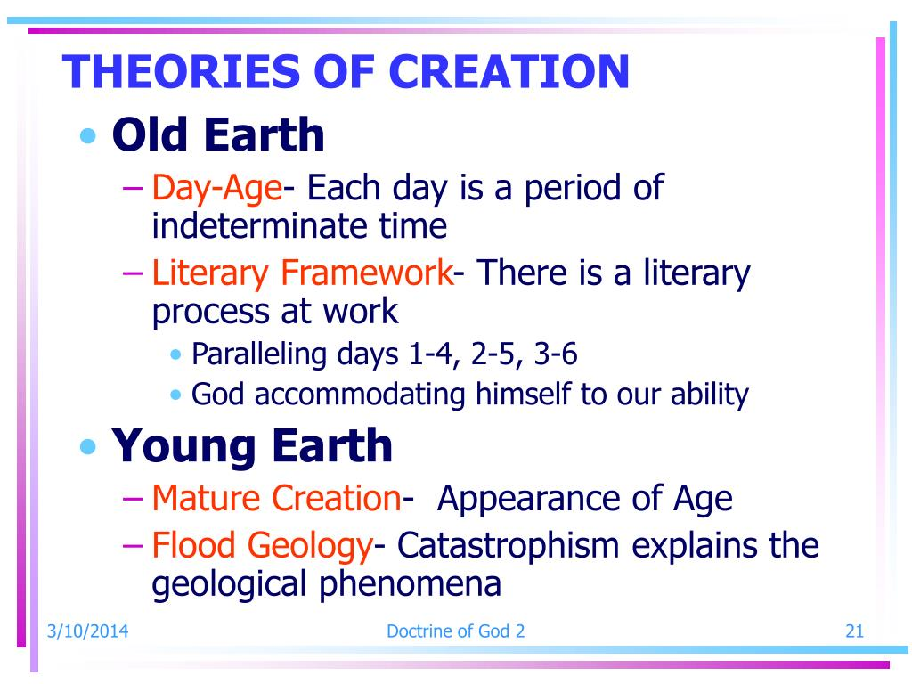 THEORIES OF CREATION