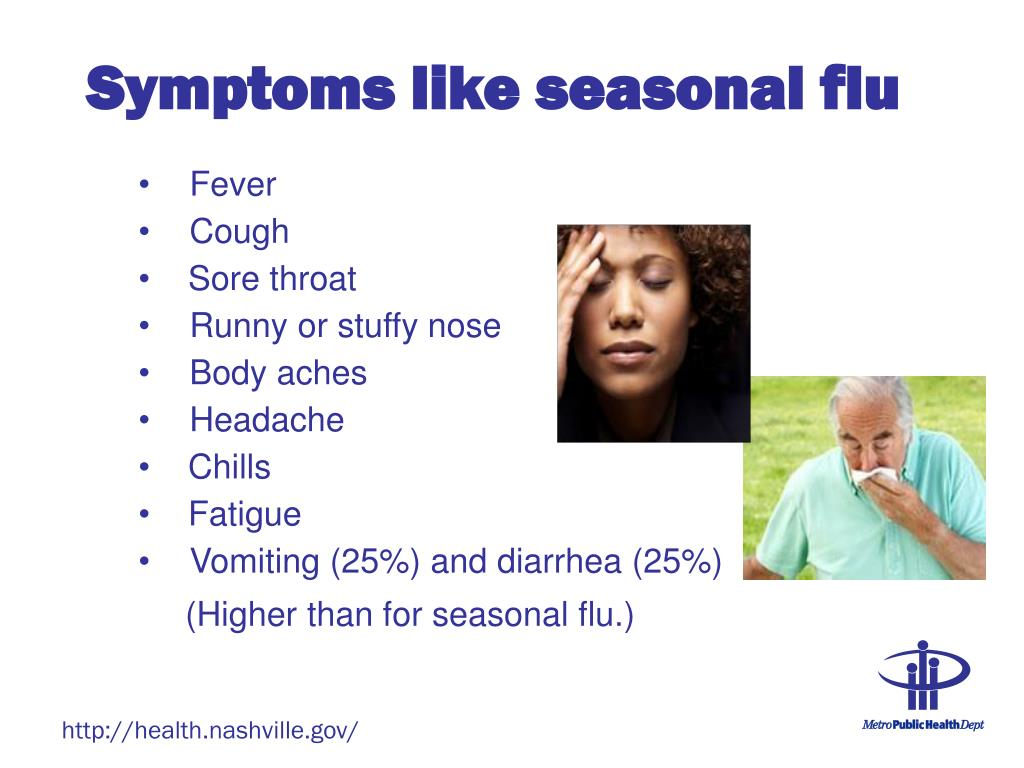 Symptoms like seasonal flu