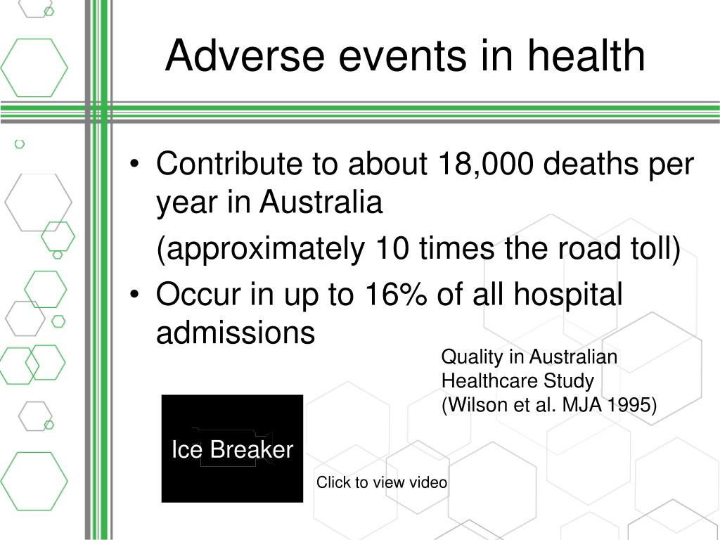 Adverse events in health