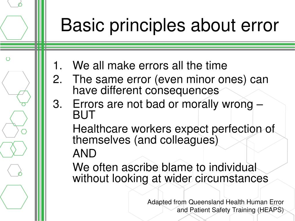 Basic principles about error