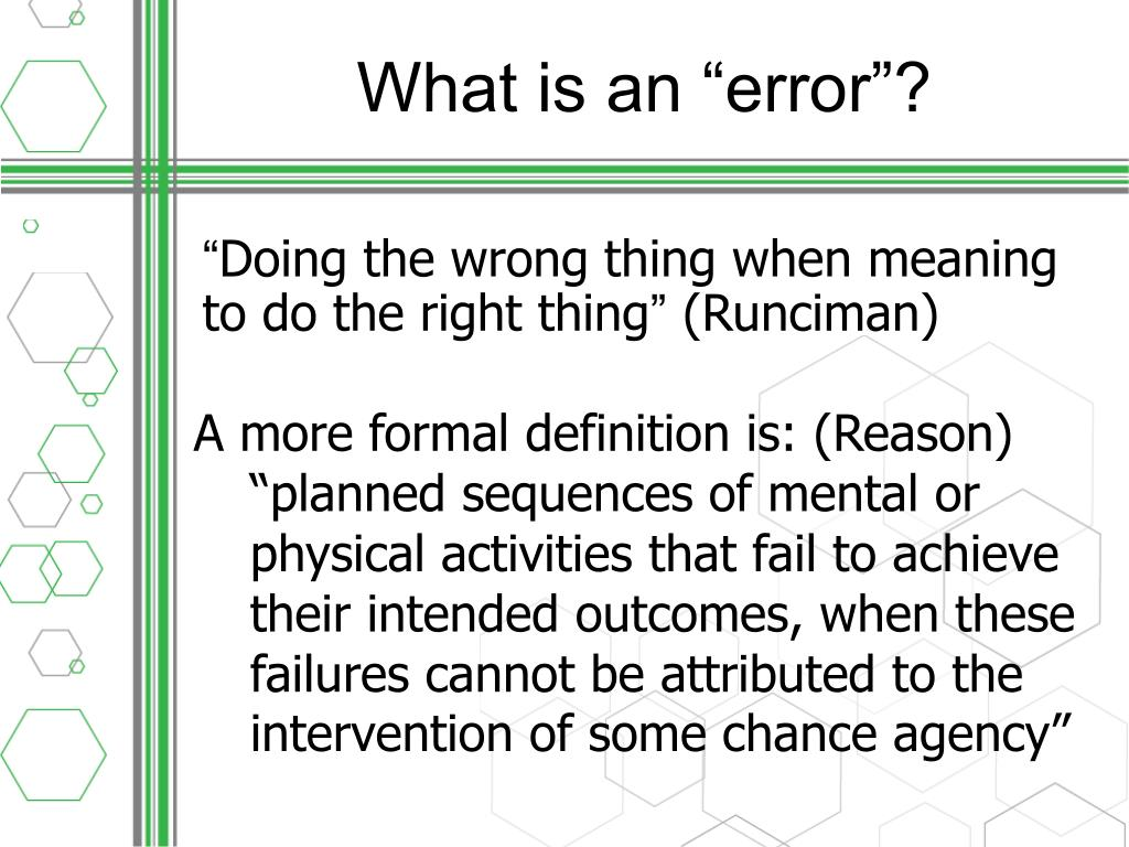 """What is an """"error"""""""