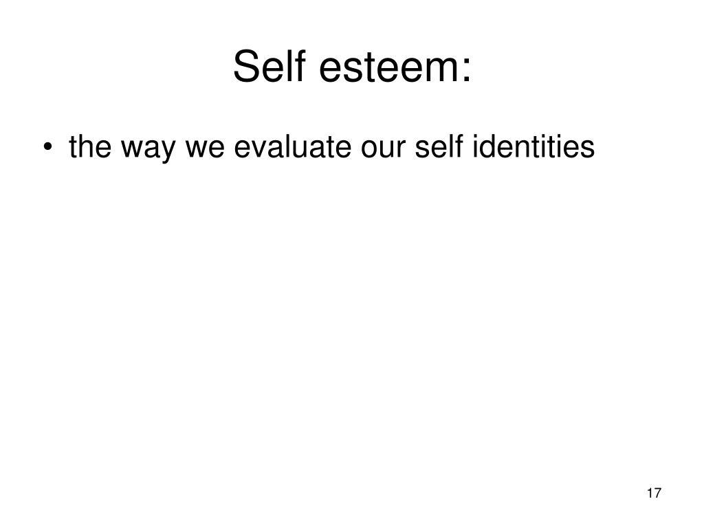 Self esteem: