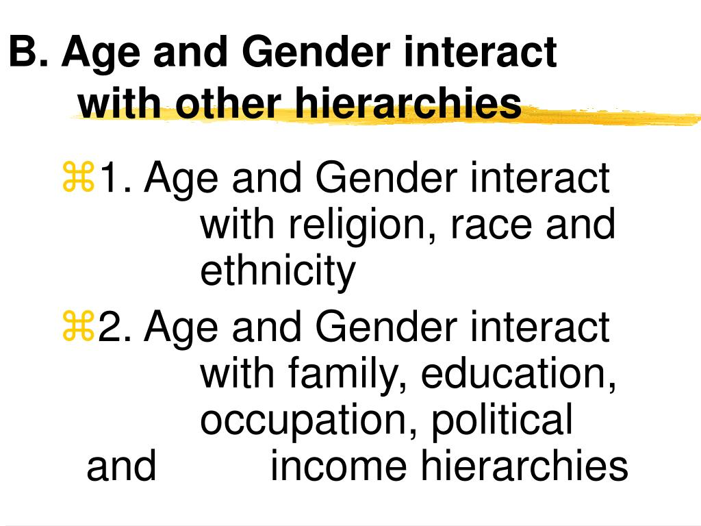 B. Age and Gender interact with other hierarchies