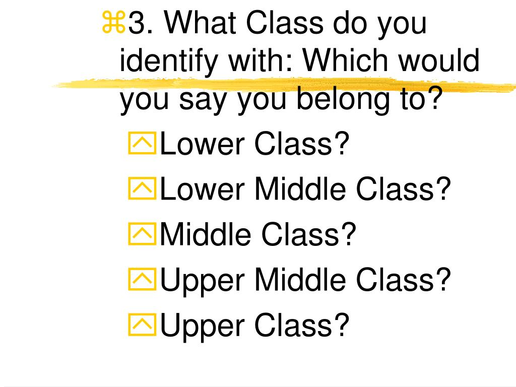 3. What Class do you identify with: Which would you say you belong to?