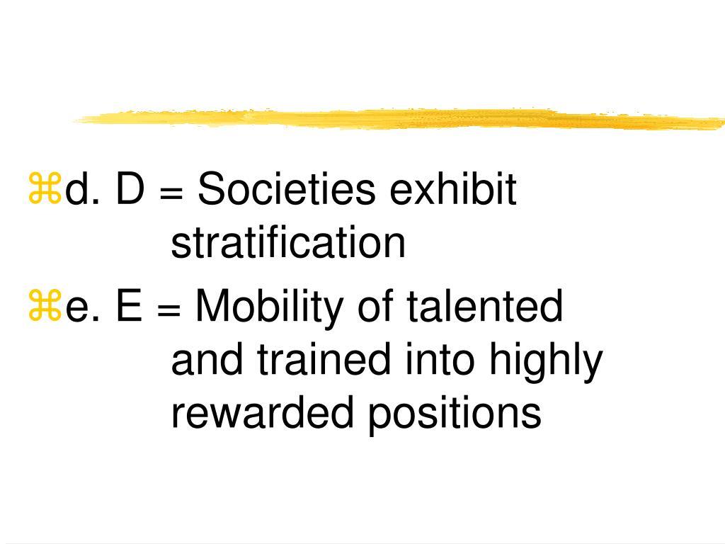 d. D = Societies exhibit stratification