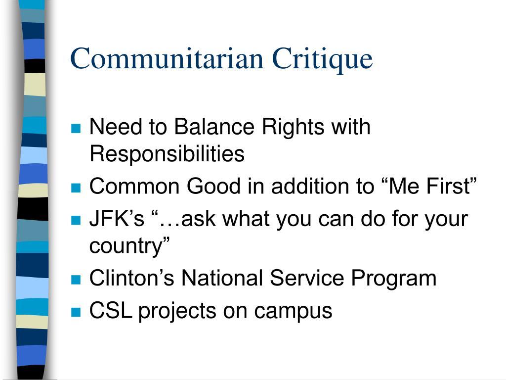 Communitarian Critique