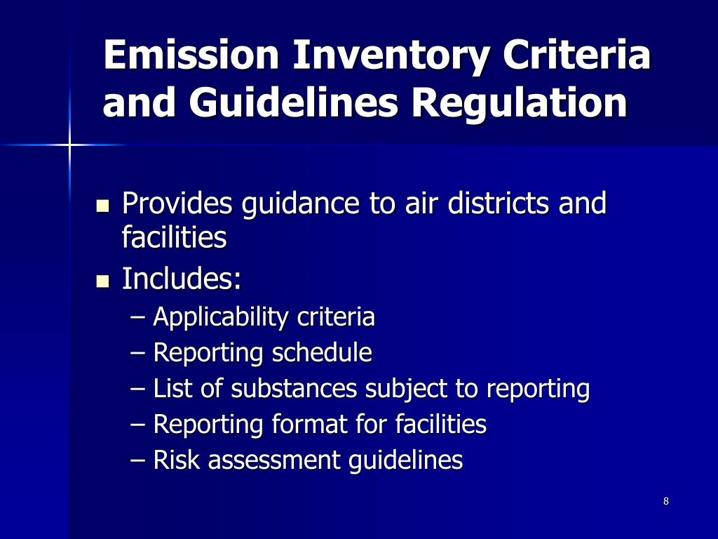 Emission Inventory Criteria and Guidelines Regulation