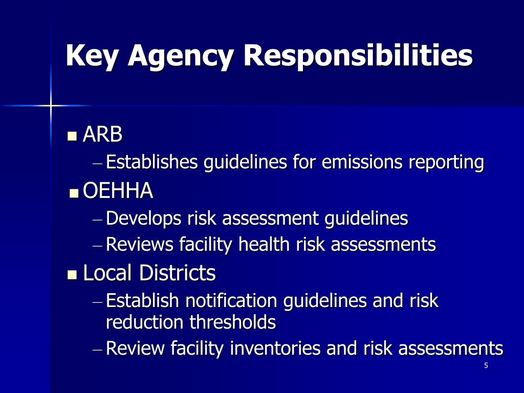 Key Agency Responsibilities