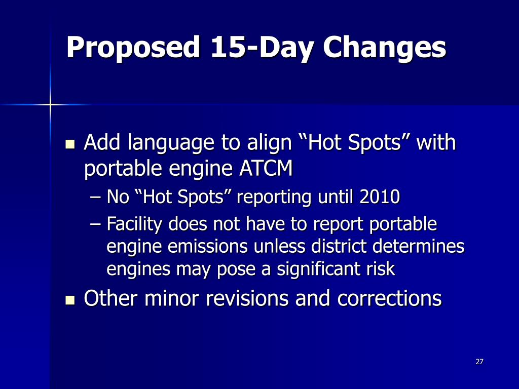 Proposed 15-Day Changes