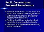public comments on proposed amendments