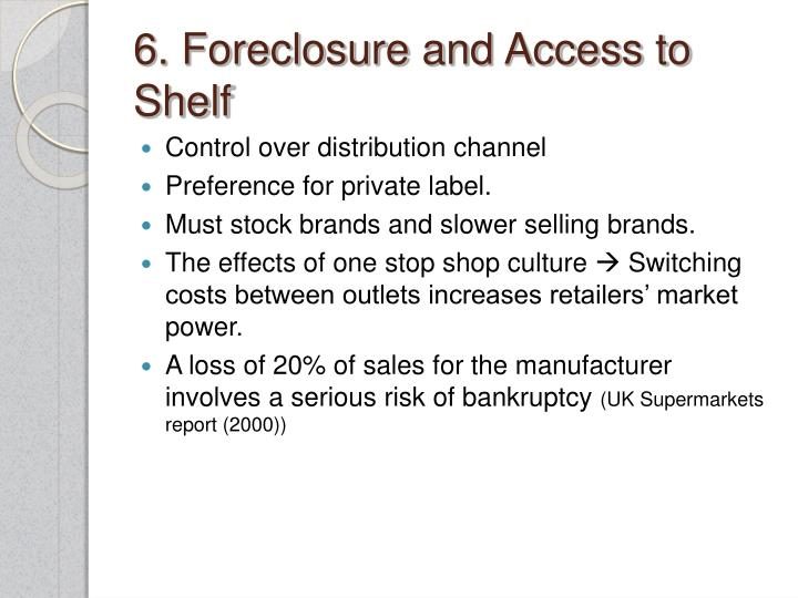 6. Foreclosure and Access to Shelf
