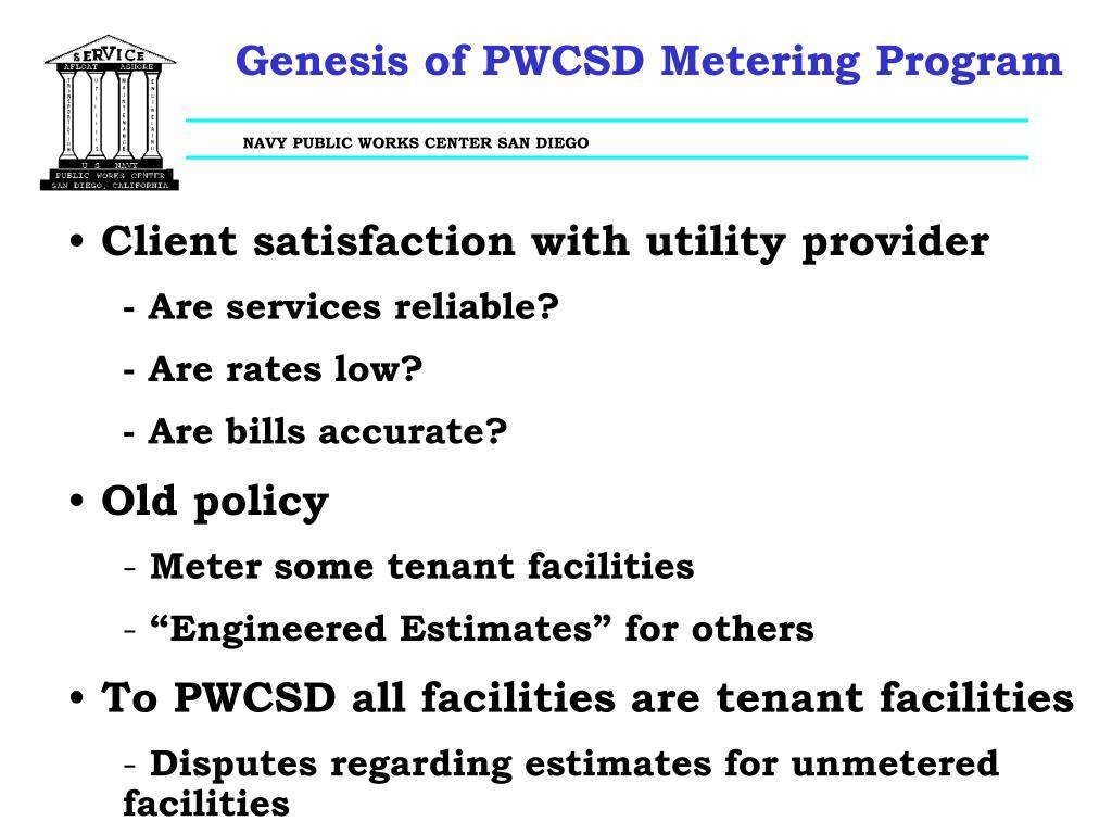 Genesis of PWCSD Metering Program