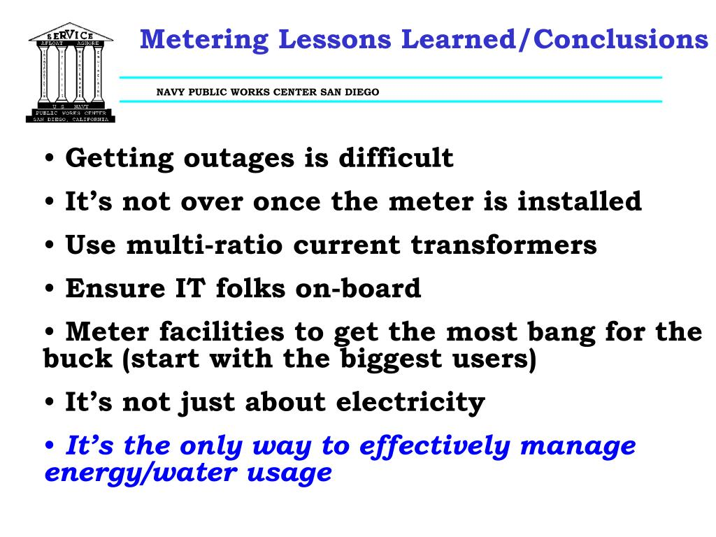 Metering Lessons Learned/Conclusions