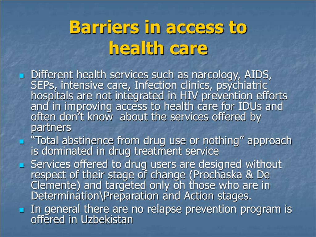 Barriers in access to         health care