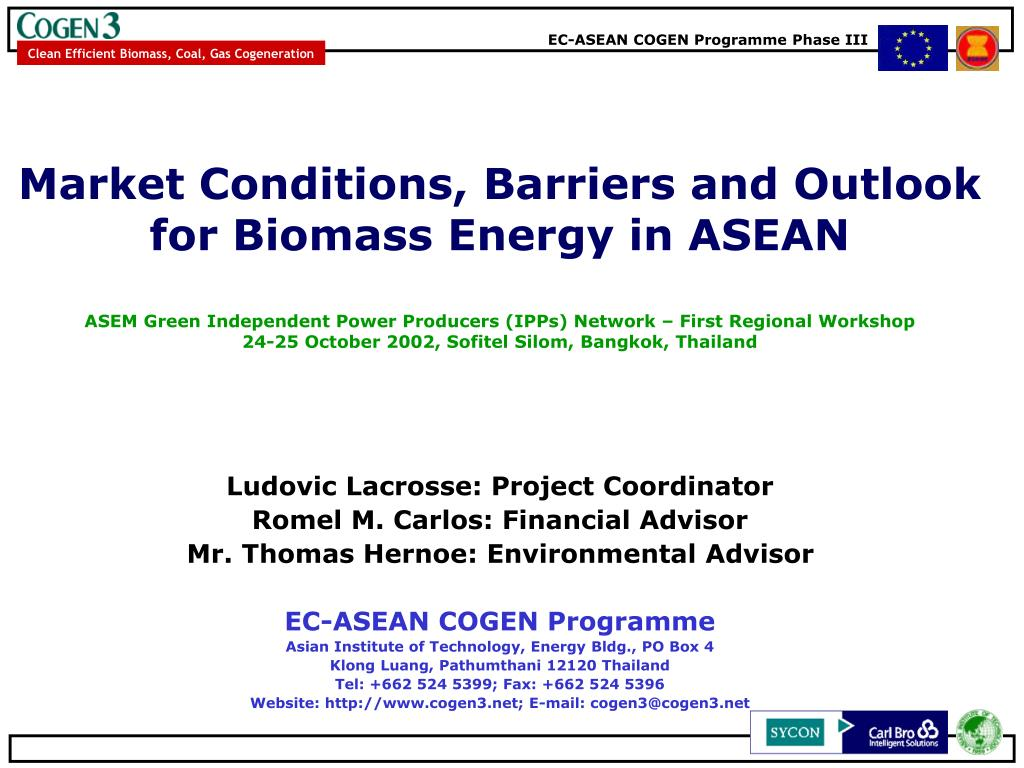 Market Conditions, Barriers and Outlook for Biomass Energy in ASEAN