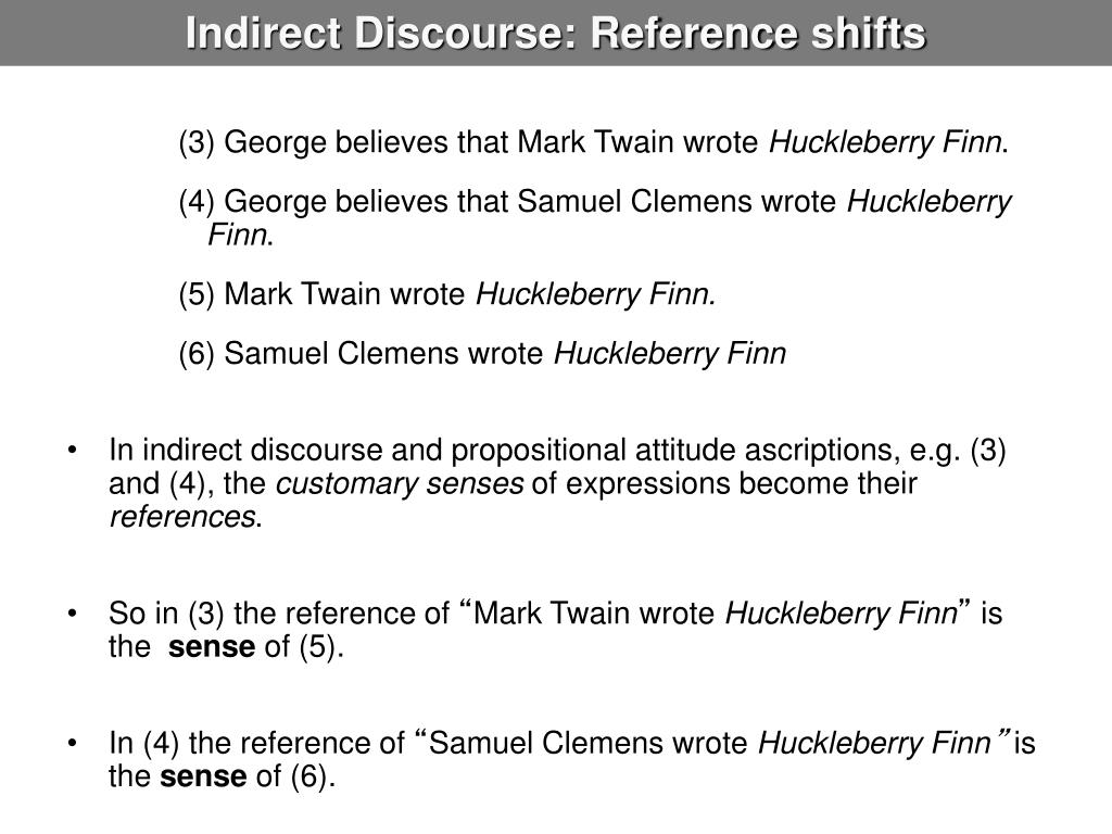 Indirect Discourse: Reference shifts