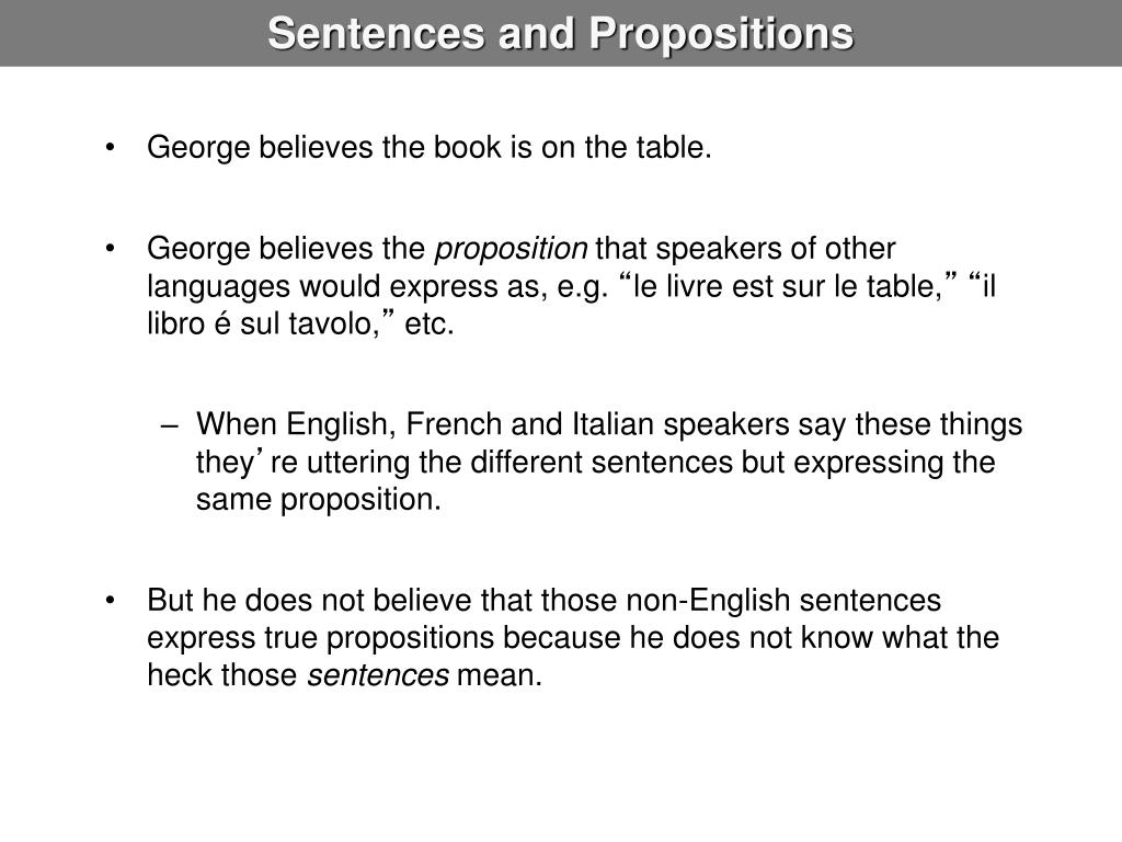 Sentences and Propositions