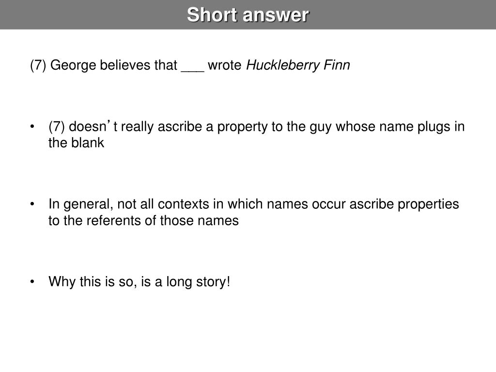 Short answer
